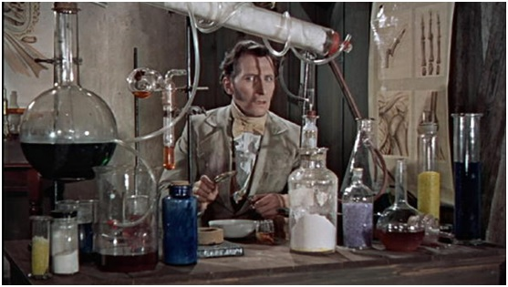 A typical mad scientist's lab from 1956's Curse of Frankenstein (Hammer Films).