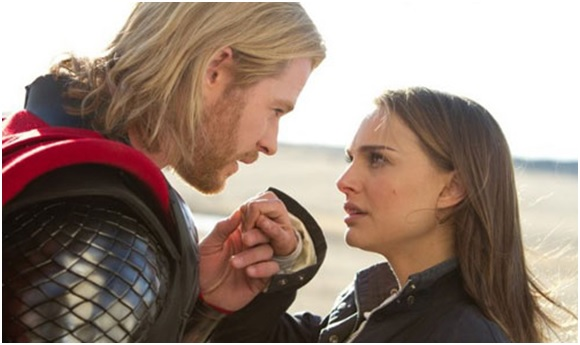 Chris Hemsworth and Natalie Portman as Thor and Jane Foster in Thor.