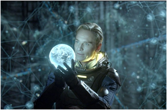 The android David contemplates the origins of humanity in Prometheus.