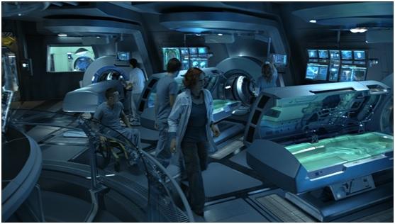 The crew aboard their spacecraft in Avatar