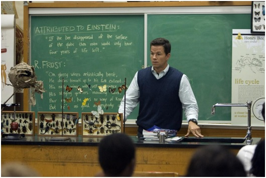 Teacher Elliot Moore, played by Mark Wahlberg, addresses his class in The Happening