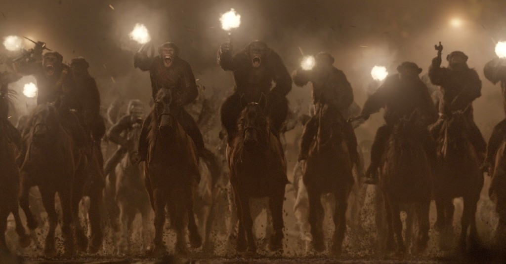 Caesar's primate army - shooting directly at the audience. Are they still just apes on horses?