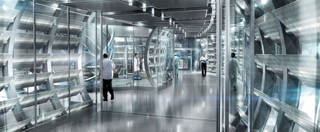 The clinical corridors of the Gen-Sys lab in RIse of the Planet of the Apes