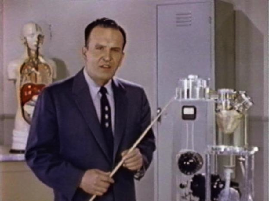 Evangelist preacher and filmmaker 'Dr.' Irwin A. Moon in the Red River of Life (1957) utilizes the beating heart of a human cadaver as a teaching aid on a film set that resembles a medical laboratory. The heart was used to demonstrate the scientific principles of blood circulation and also served as evidence of intelligent design.
